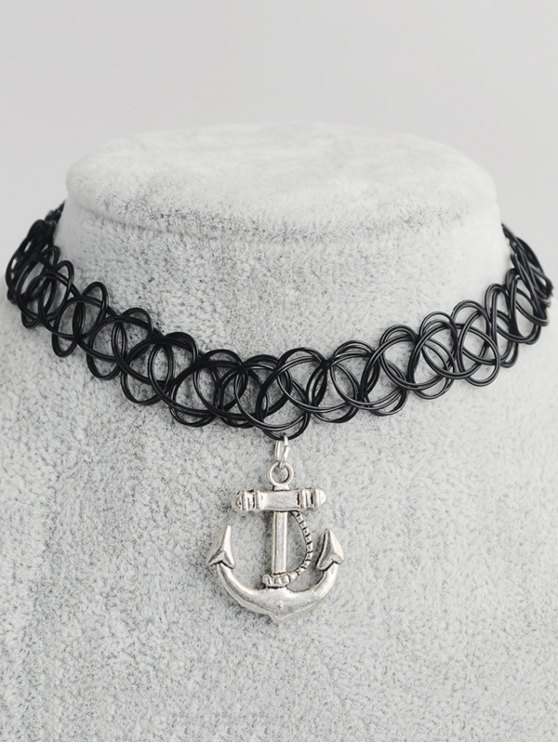 trendy Anchor Hollow Out Tattoo Choker - BLACK
