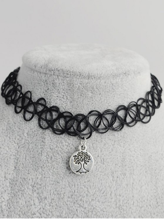 fancy Life Tree Hollow Out Tattoo Choker - BLACK
