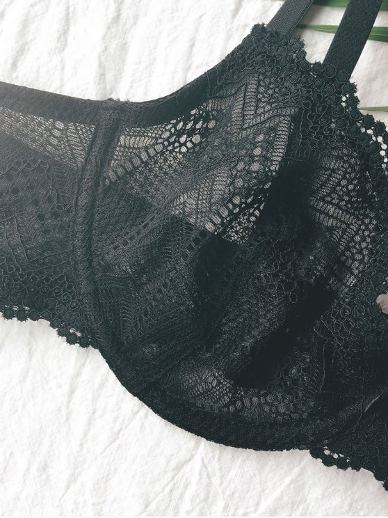 Push Up 3/4 Cup Full Lace Cami Bra - BLACK 2XL Mobile