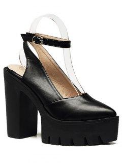 Chunky Heel Platform Ankle Strap Pumps - Black 38
