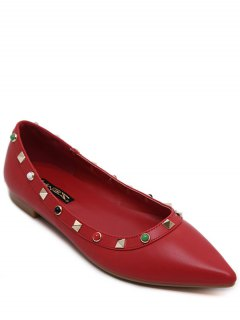 Pointed Toe Rivet Bead Flat Shoes - Red 38