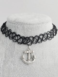 Anchor Hollow Out Tattoo Choker - Black