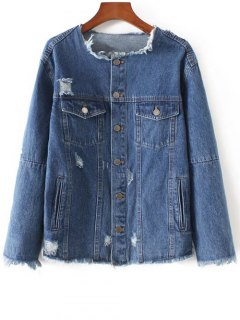 Frayed Denim Jacket - Denim Blue S