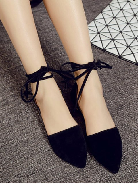 lady Tie Up Pointed Toe Flock Flat Shoes - BLACK 38 Mobile