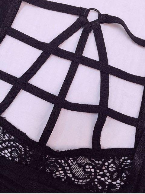 chic Black High Waisted Lace Bra Set - BLACK L Mobile
