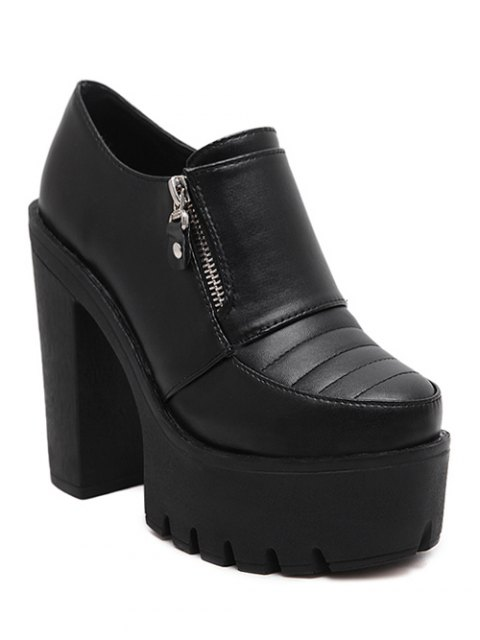 unique Zipper Chunky Heel Platform Pumps - BLACK 39 Mobile