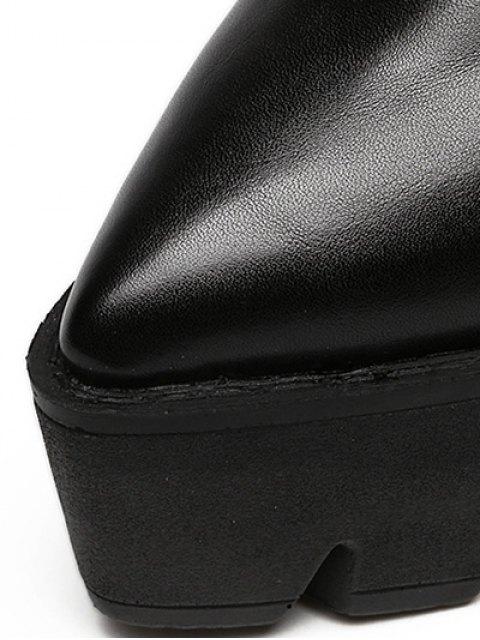 fancy Chunky Heel Platform Ankle Strap Pumps - BLACK 38 Mobile