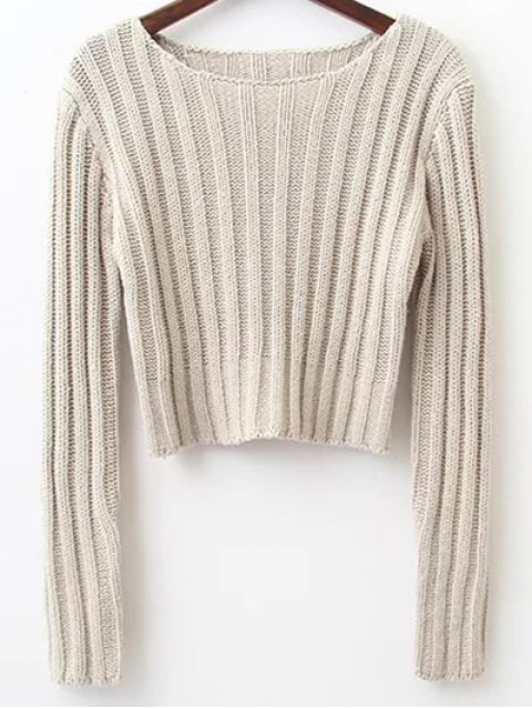 ladies Long Sleeve Round Neck Cropped Sweater - LIGHT GRAY M Mobile