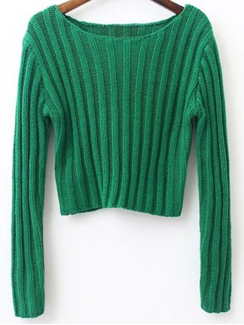 best Long Sleeve Round Neck Cropped Sweater - GRASS GREEN M Mobile