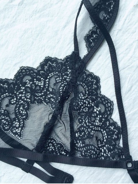 new Lace 3/4 Cup Strappy Bra - BLACK L Mobile