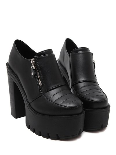 Zipper Chunky Heel Platform Pumps - BLACK 38 Mobile