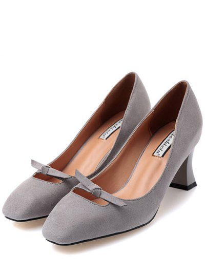Chunky Heel Bowknot Square Toe Pumps - GRAY 37 Mobile