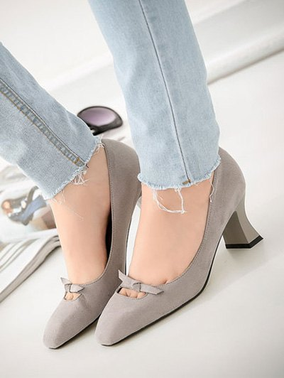 Chunky Heel Bowknot Square Toe Pumps - GRAY 38 Mobile