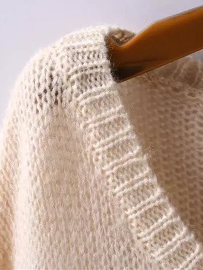 Scoop Neck Sunflower Jacquard Ripped Sweater - APRICOT L Mobile