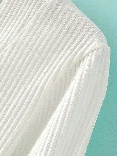 V Neck Long Sleeve Lace Up T-Shirt - BLACK L Mobile