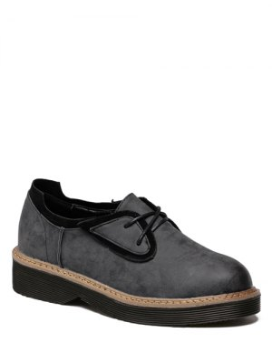 Round Toe Tie Up Splicing Platform Shoes - Black Grey