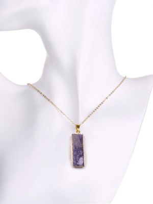 Natural Shape Amethyst Geometric Necklace - Purple
