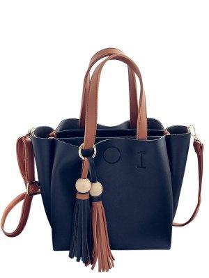Metal Ring Colour Block Tassels Tote Bag - Black