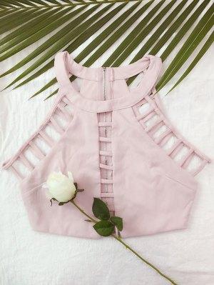 Ladder Cutout Crop Top - Pink