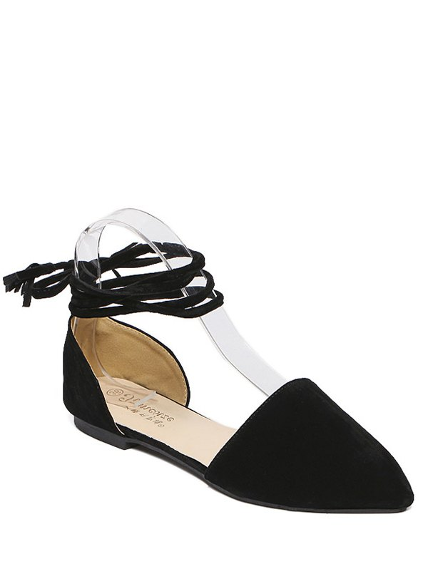 Tie Up Pointed Toe Flock Flat Shoes