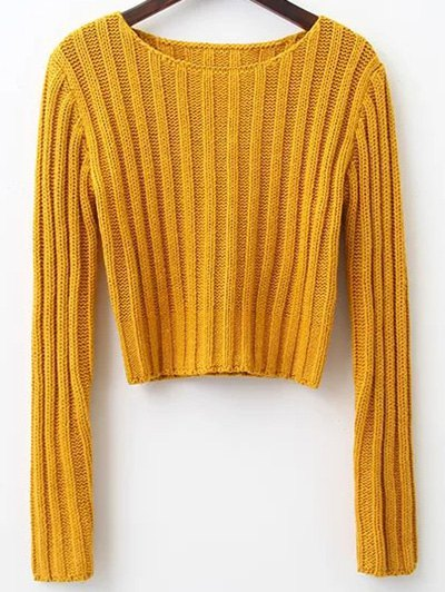 Round Neck Cropped Sweater 192656806