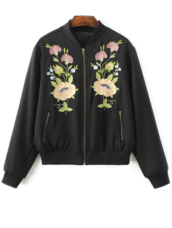 Floral Embroidered Zipper Up Jacket