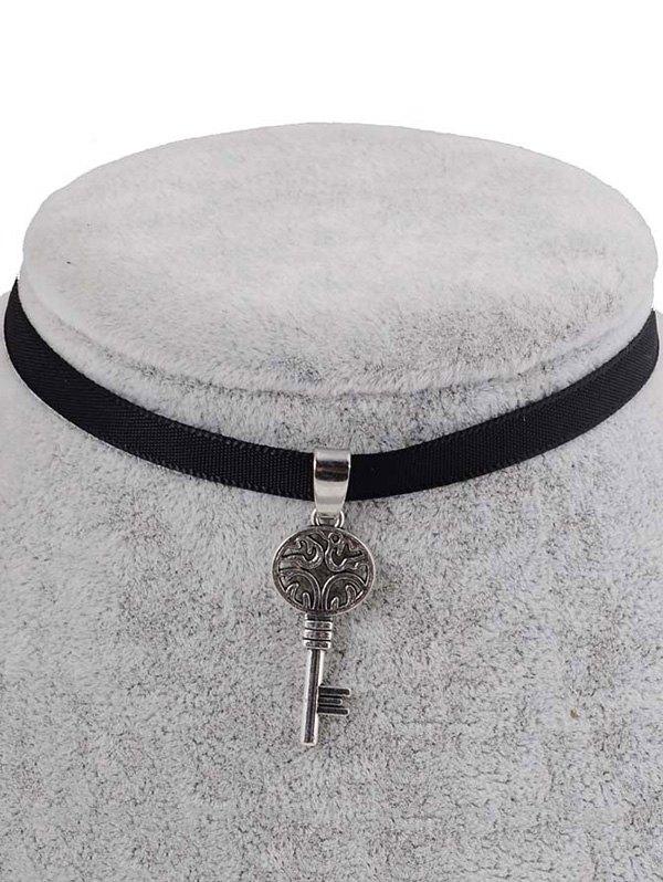 Faux Leather Engraved Key Pendant Choker