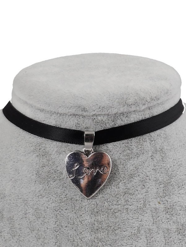 PU Leather Engraved Love Heart Pendant Choker