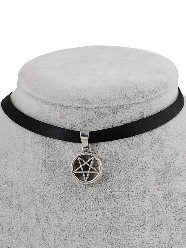 PU Leather Geometric Pentagram Pendant Choker