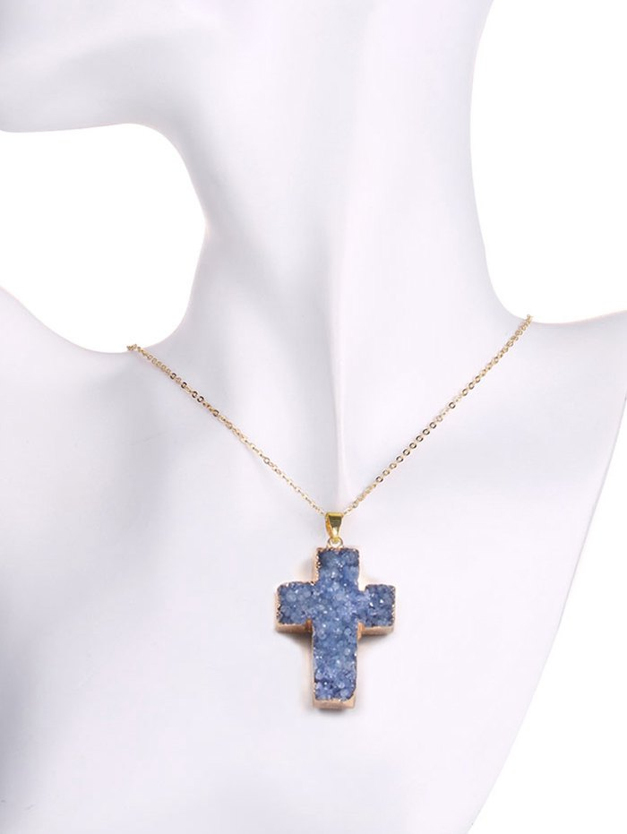 Natural Shape Crystal Cross Pendant Necklace