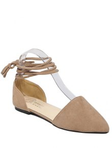 Tie Up Pointed Toe Flock Flat Shoes - Light Khaki