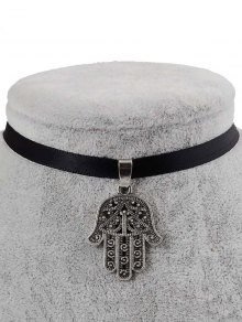 Faux Leather Engraved Palm Pendant Choker