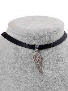 Faux Leather Angel Wing Choker - Black