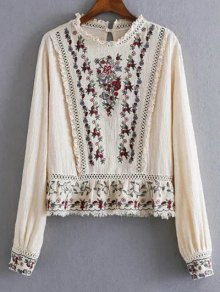 Tiny Floral Embroidered Round Neck Blouse - Apricot