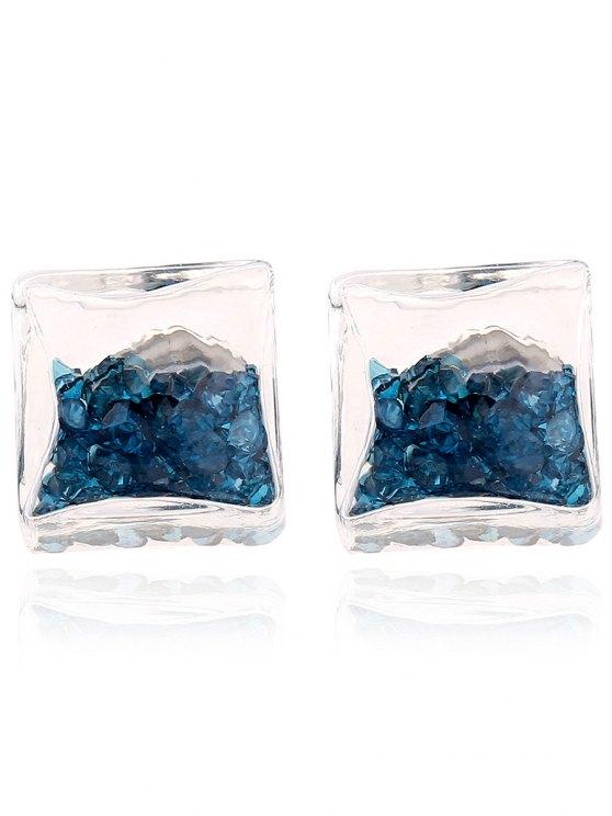 Square Rhinestone Stud Earrings - LAKE BLUE  Mobile