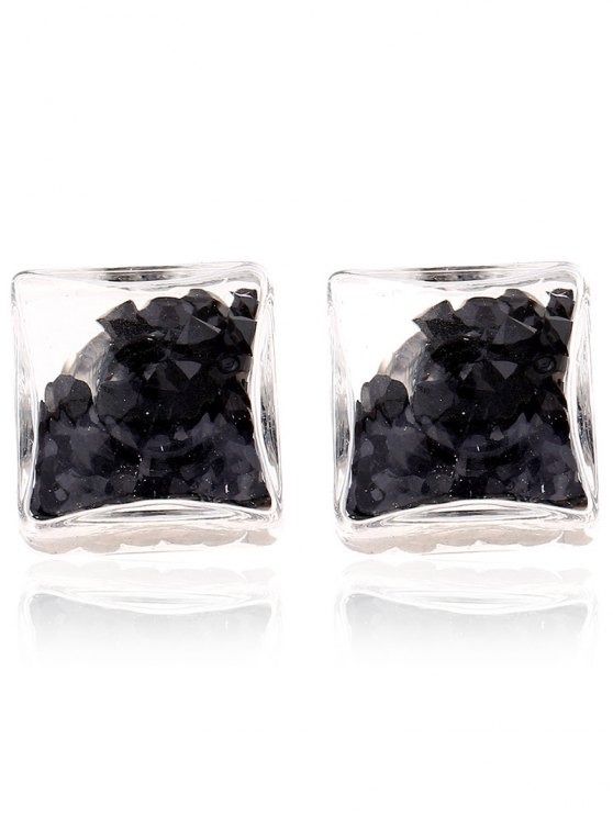 shop Square Rhinestone Stud Earrings - BLACK