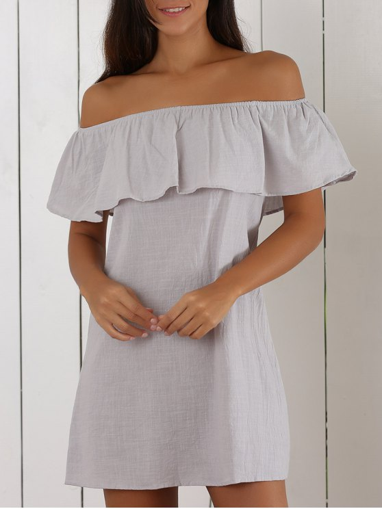 Off The Shoulder Ruffles Insert Casual Dress - LIGHT GRAY M Mobile