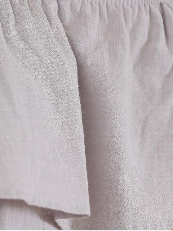 Off The Shoulder Ruffles Insert Casual Dress - LIGHT GRAY S Mobile
