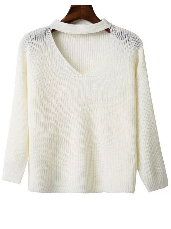 new Oversized Drop Shoulder Choker Sweater - WHITE ONE SIZE