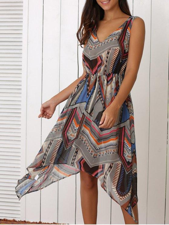 Retro geométrico de impresión con cuello en V vestido de talle - Colormix XL