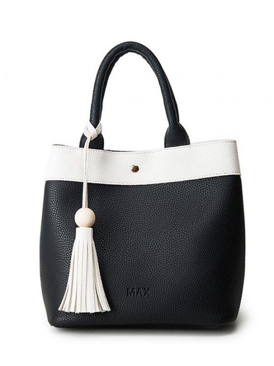 shops Magnetic Closure Tassels PU Leather Tote Bag - BLACK