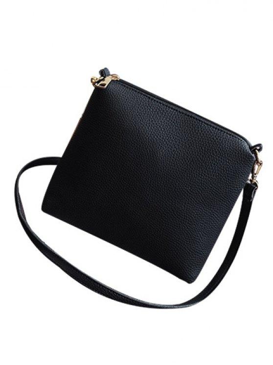 Magnetic Closure Tassels PU Leather Tote Bag - BLACK  Mobile