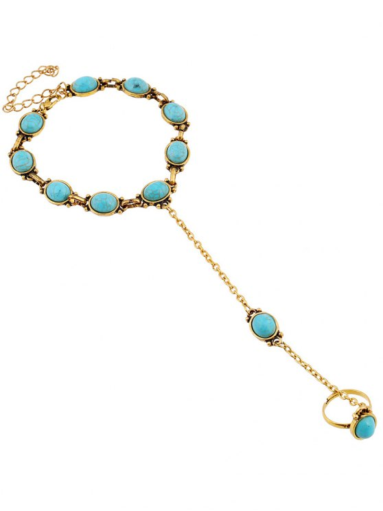 Faux Turquoise Bracelet with Ring -   Mobile