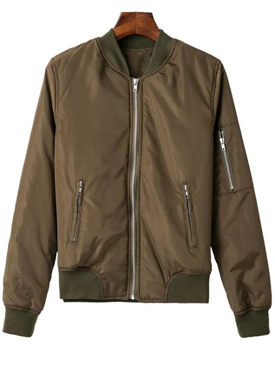 affordable Zip Pocket Sport Jacket - ARMY GREEN L