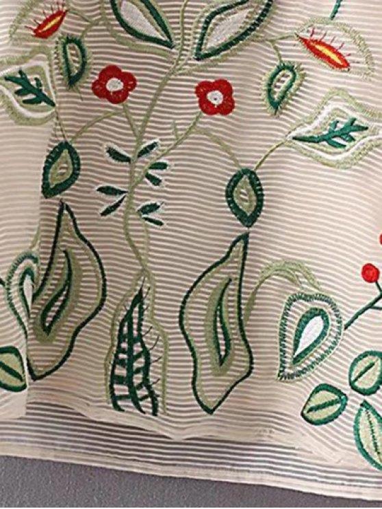 Embroidered Mini Organza Dress - APRICOT S Mobile