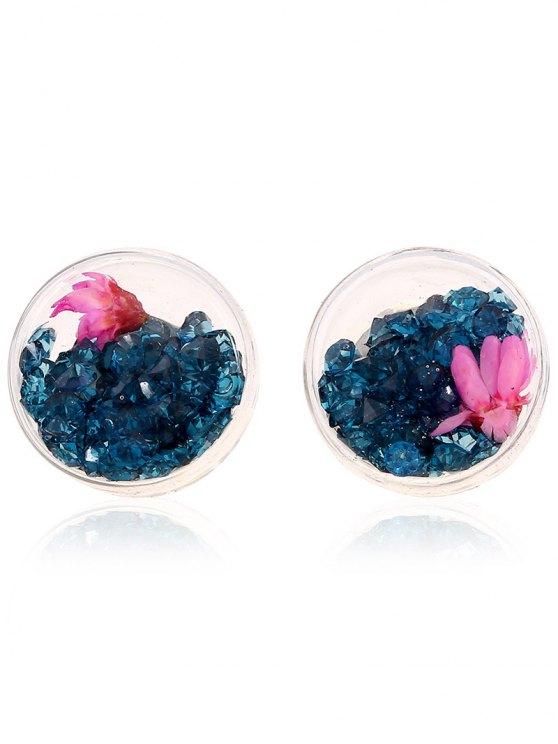 Flower Rhinestone Stud Earrings - PEACOCK BLUE  Mobile