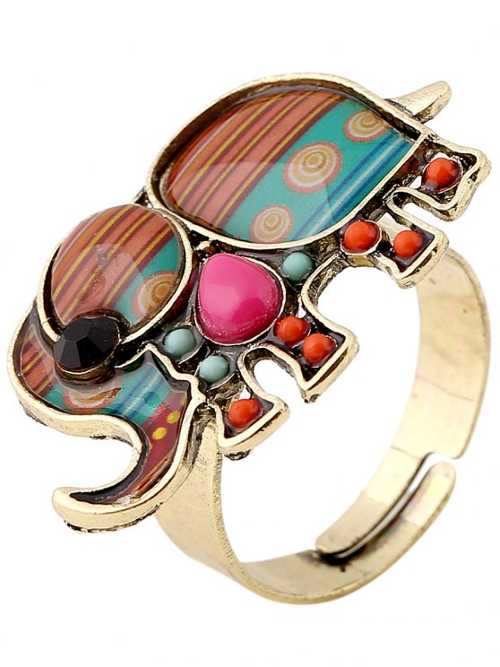 buy Elephant Faux Gem Ring - COLORMIX