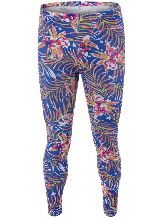 High Waisted Orchid Print Bodycon Leggings - BLUE ONE SIZE Mobile
