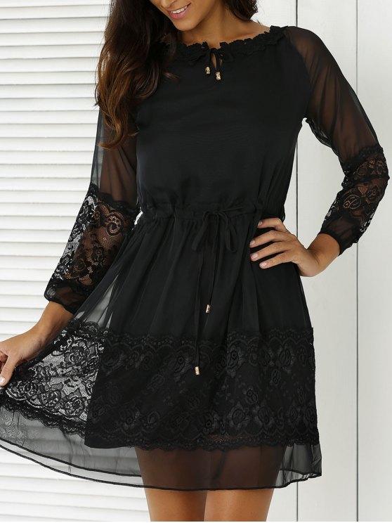 Lace Splicing 3/4 Sleeve Black Dress - BLACK L Mobile