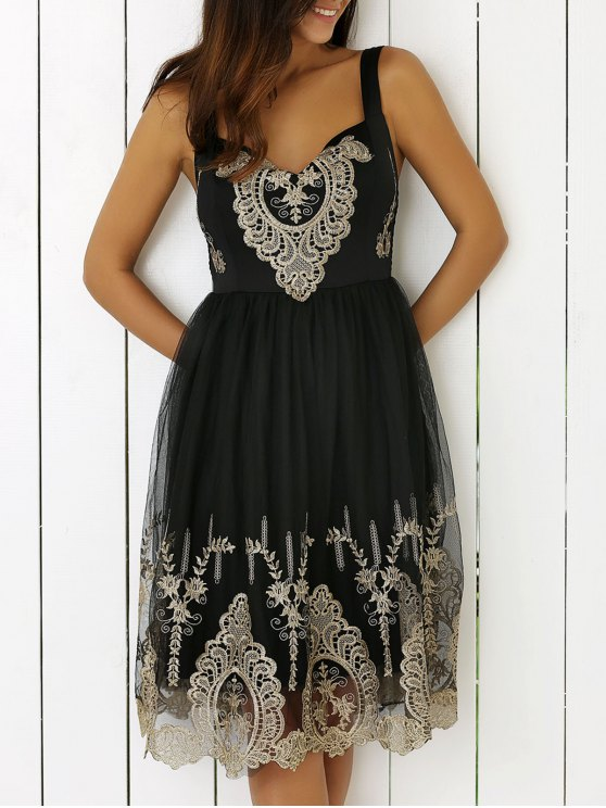 women's Lace Splice V-Neck Sleeveless Black Dress - BLACK S